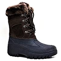 Fenside Country Clothing LS005 Ladies Premium Lace Up Thermal Winter Snow Boots for Walking Stable Work - Faux Fur Top Lined & Anti Slip (UK 5, Brown)