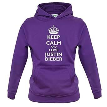 Keep calm and Love Justin Bieber - Childrens / Kids Hoodie - Purple - XXL (12-13 Years)
