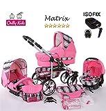 Chilly Kids Matrix II 4 in 1 carrozzina passeggino combinato (seggiolino per auto, base ISOFIX, parapioggia, zanzariera, ruote girevoli, 62 colori) 51 rosa & quadrettato