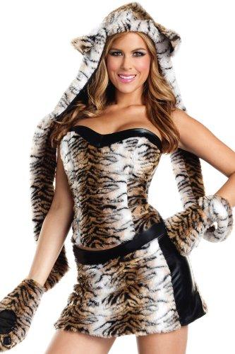 Sexy Kostüm Tiger - Superflauschiges Plüsch-Kostüm TIGER mit HANDSCHUHSCHAL, Größe:S/M
