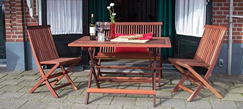 Bistro Gartenmöbel Set ( Tisch 120 x 80 + 2 Stühle und Gartenbank. Breite 100 cm), aus exklusiven Mahagoni Hartholz, klappbar
