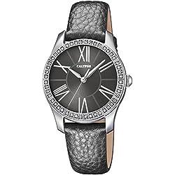 Calypso Women's Watch Quartz Analogue Leather Strap Watch Grey Dial Grey UK5719/4