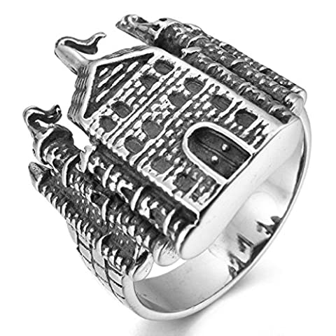 Aooaz Stainless Steel Rings For Men Castle Pattern Silver Black Wedding Band Promise Ring Punk Size Z 1/2