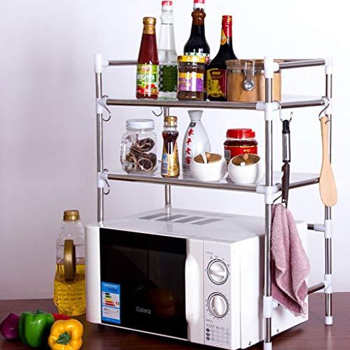 WMM-wall shelf Edelstahl 2 Schicht Mikrowellen-Lagerregale Regal, Multifunktions-Edelstahl-Küchenorganisator, Platz sparen