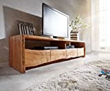 DELIFE Fernsehtisch Live-Edge Akazie Natur 190 cm 4 Schubkästen Baumkante Lowboard