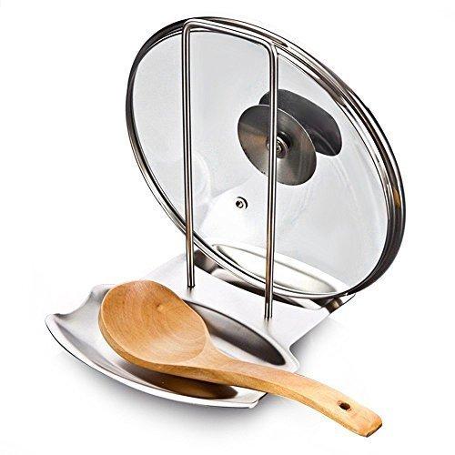 YOMYM Support Couvercle Repose Cuillère Couteaux Cuillères Fourchettes Spatule en Acier Inoxydable Repose Couvert Porte Couvercle Ustensile Divers de Cuisine Mettre de l'Ordre dans Votre Cuisine