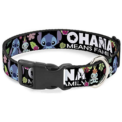 Buckle-Down Ohana Means Family/Stitch & Scrump Poses/Tropical Flora Plastic Clip Collar, Wide Medium/16-23 -