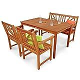 IND-70104-LOSE4GB2 Gartenmöbel Set Lotus, Garten Garnitur Sitzgruppe aus Holz - 4-teilig - Tisch + Gartenbank + 2 x Stuhl