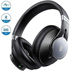 BOMAKER Casque Bluetooth sans Fil à Réduction de Bruit Active, Ecouteur ANC BL 5.0 Stéréo HI-FI avec Microphone Intégré CVC 8.0, Earpad Protéique et Etui de Transport, Compatible Téléphone Tablette PC