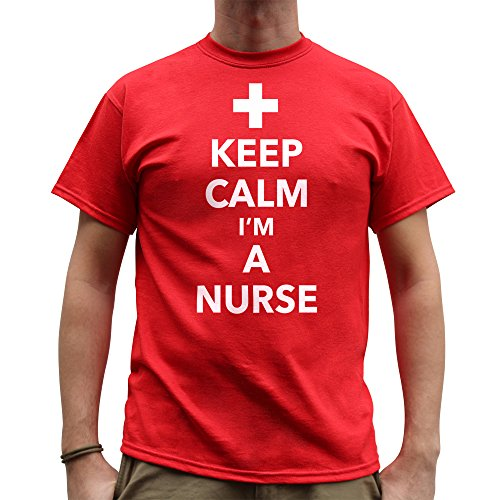 Nutees Keep Calm I'm A Nurse Funny Cool Herren T Shirt - Rot Medium (Humor Medizinische T-shirt)