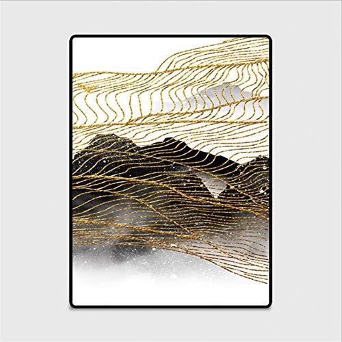 YZYSS Mode-abstrakte goldene gelbe Teppich-Teppiche für Wohnzimmer-Teppich für Arbeitszimmer-Boden-Matten-rutschfeste Nachttücher - Luxus Traditionelle Teppich