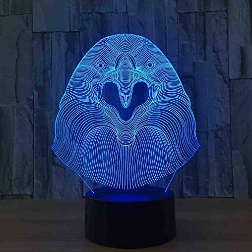 RJGOPL eagle Kopf 7 Farbe Lampe 3D Visuelle Led Nachtlichter Für Kinder Touch Usb Tisch Baby Schlafen Nachtlicht Nettes Licht (Die Eagles Sind Zurück)