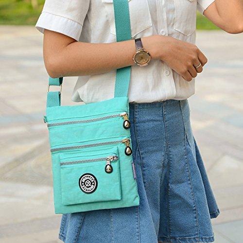 Supamodern tracolla in nylon impermeabile per donne a tracolla iPad bag Phone bag leggero sacchetto esterno al giorno per donne, donna, Purple Red, S Mushroom