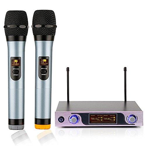 Wireless Mikrofon, VHF Funkmikrofon Set Professional Kabelloses Mikrofon Dual 2 Handmikrofon Drahtlose Karaoke Anlage mit LCD Display für Karaoke, Party, Konferenz, Hochzeit usw