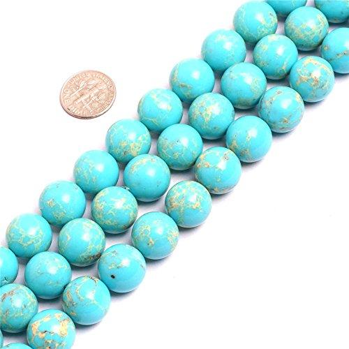 SHG-Shop Perlen Herrliche Crazy Lace Achat-Edelstein Runde Lose Korn Approxi 15 inch Pro Strang Für Schmuckherstellung (14mm, Ozean Blau) - Ozean-blau-korn