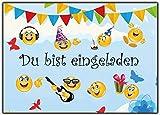 Set Emoji Einladungskarten Kindergeburtstag Sommer-Fest Jungen Mädchen Smiley Garten-Party 12 Stück Kinder Geburtstag Du bist eingeladen Karten Sommer Poolparty Grilande Luftballons Wolken Vögel Schmetterling Kerze Muffin Cupcake