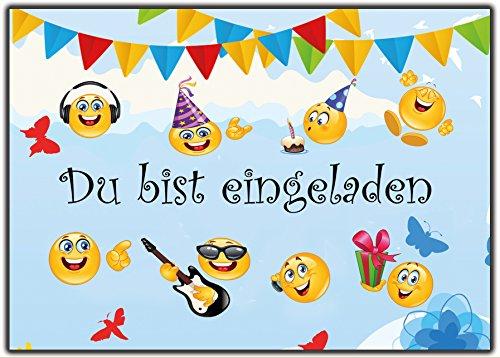 Set Emoji Einladungskarten Kindergeburtstag Sommer-Fest Jungen Mädchen Smiley Garten-Party 12...