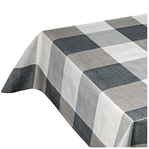 Emmevi tovaglia antimacchia cerata a quadri grigia plastificata retro felpato 12 misure copri tavolo cucina su misura mod.favola 94g 140x300cm