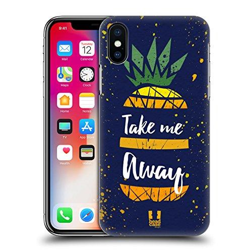 Head Case Designs Oro Stampe Ananas Cover Retro Rigida per Apple iPhone X Take Me Away