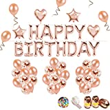 iZoeL Geburtstag Rose Deko Happy Birthday Girlande Buchstaben Folienballon Rosegold & 36 Rosa Gold Ballons & 15 Rosegold Konfetti Luftballons & 4 Herz Stern Folienballon für Mädchen Freundin Tochter