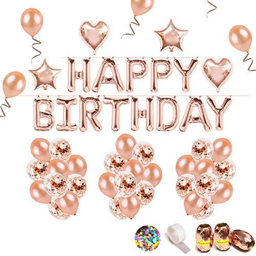 (iZoeL Geburtstag Rose Deko Happy Birthday Girlande Buchstaben Folienballon Rosegold & 36 Rosa Gold Ballons & 15 Rosegold Konfetti Luftballons & 4 Herz Stern Folienballon für Mädchen Freundin Tochter)
