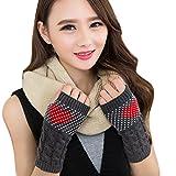 F.lashes Handschuhe Fäustlinge Woolen weibliche Herzen Weihnachten Stricken halbe Finger Ärmel Handschuhe 1pcs
