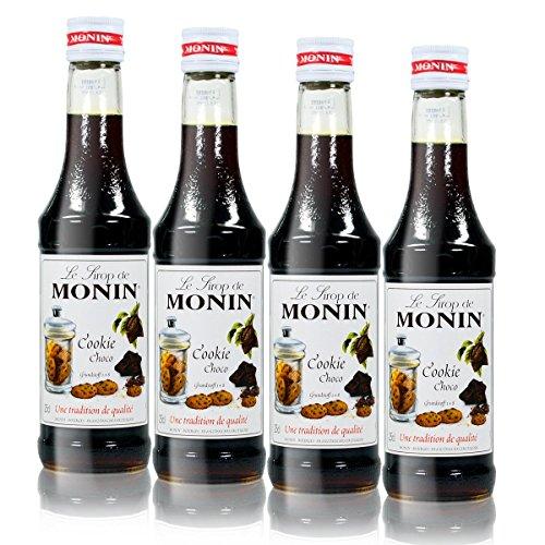 4x Monin Cookie Choco Sirup, 250 ml Flasche - für Cocktails, zum Kaffee oder Kochen