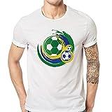 feiXIANG T-shirt manica corta da uomo in cotone Maglietta da Uomo t-shirt manica corta da uomo-World Cup Calcio Specific Uniform Camicie da Uomini Tees Di Stampa Tops (Bianco C, XL)