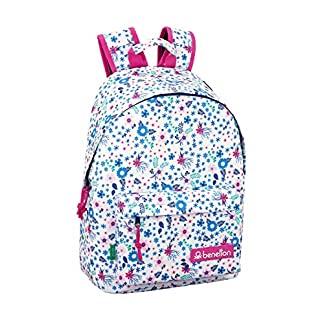 Benetton UCB In Bloom White Oficial Mochila Juvenil Para Portátil 14,1″, 310x160x410mm