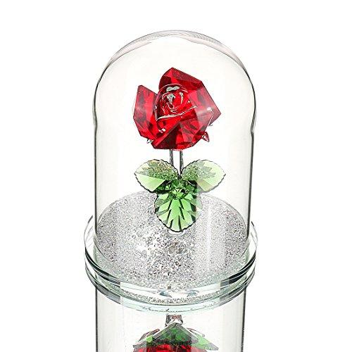 H&D Rot erhalten Deko Kristall Glas Rose Blume in Glaskuppel Geschenk für Valentinstag Jahrestag Geburtstag mit Geschenkbox