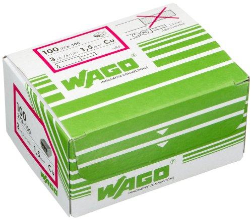 3-polig Kontakt-kit (Wago  273-100 3-Leiter-Verbindungs-Dosenklemme 1,5qmm,Grau)