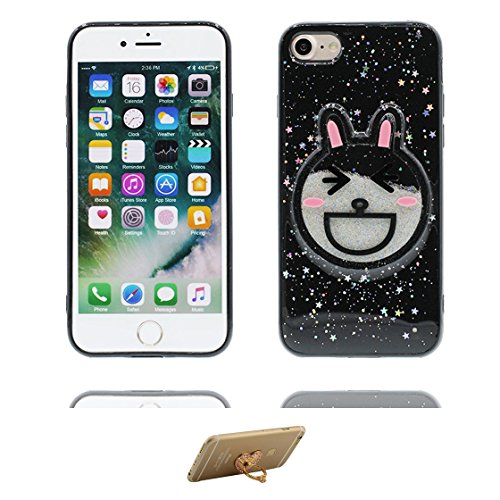 iPhone 6 Custodia, Design morbido mobile Case iPhone 6S copertura Cover Shell Graffi Resistenti [ Cartoon Noce di cocco ] e ring supporto Nero 1