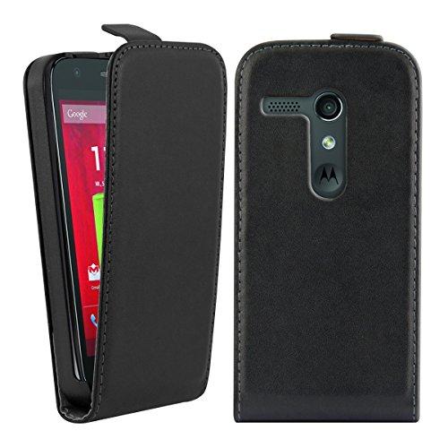 kwmobile Flip Case Hülle für Motorola Moto G (2013) - Aufklappbare Kunstleder Schutzhülle Tasche im Flip Cover Style in Schwarz