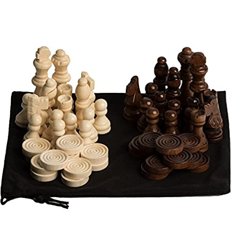 GrowUpSmart Staunton Style Chess & Checkers Pieces Set Made Of