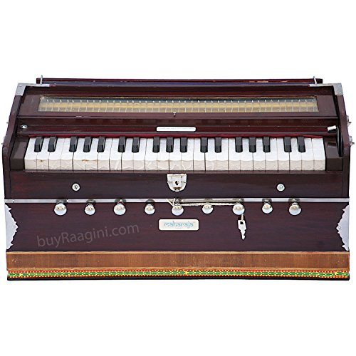 Maharaja Musicals Harmonium - 9 Stop - Sangeeta - 3½ Octave - With Coupler, Come with Book & Bag - Tuned to A440 - Mahogany Color (PDI-DC)