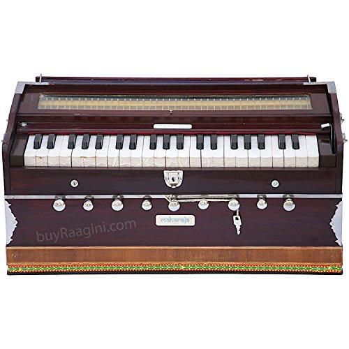 Maharaja 5200n Sangeeta Harmonium, 9 Stopps, 3,5 Oktaven, gestimmt auf A440, mit Verbindungsstück, inkl. Tragetasche und Handbuch (evtl. nicht in deutscher Sprache), Farbton: Mahagoniholz (PDI-DC) -