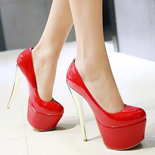 TAOFFEN Femmes Chaussures Mode Aiguille Plateforme Talon Haut Escarpins Soiree Rouge