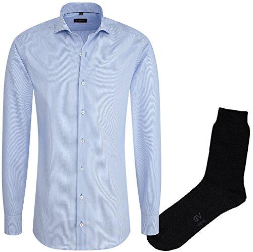 ETERNA Herrenhemd Slim Fit, hellblau gestreift, Cotelé + 1 Paar hochwertige Socken, Bundle Hellblau