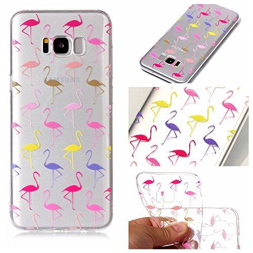 Ecoway TPU Funda Funda para Samsung Galaxy S8 Plus, Ultra Delgado Carcasa Antideslizante Suave Parachoques Resistente a los arañazos Contraportada Funda de silicona transparente transparente Parachoques Carcasa Funda Bumper - Flamingo