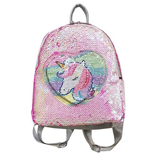 Mochila de Unicornio, Mini Mochila de Lentejuelas para niños, Colegio, Colegio, niña, 23 x 11 x 28 cm, Rosa (Rosa) - FA1142561_PK-605-1046264291