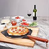 The Ultimate Pizza Peel / Paddle   35 x 35 cm Aluminium Spatula with a Smooth Ceramic Coating   25,4 cm Wooden Handle   Large Lightweight Metal Shovel for Safely Baking Pizza & Bread on Oven & Grill