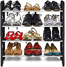 Ebee Easy to Assemble and Light Weight Foldable 4 Shelves Plastic Shoe Rack (Black)