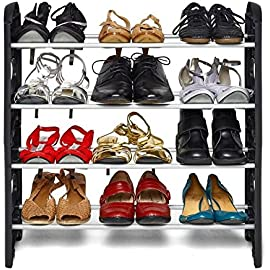 Ebee Easy to Assemble and Light Weight Foldable 4 Shelves Plastic Shoe Rack  Black
