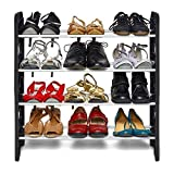 #4: Ebee Easy to Assemble and Light Weight Foldable 4 Shelves Plastic Shoe Rack (Black)