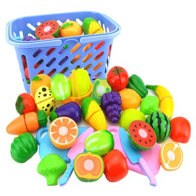 Kitchen Food Reusable Pretend Play Toy Cutting Fruit Vegetable Set Kid Educational Toys