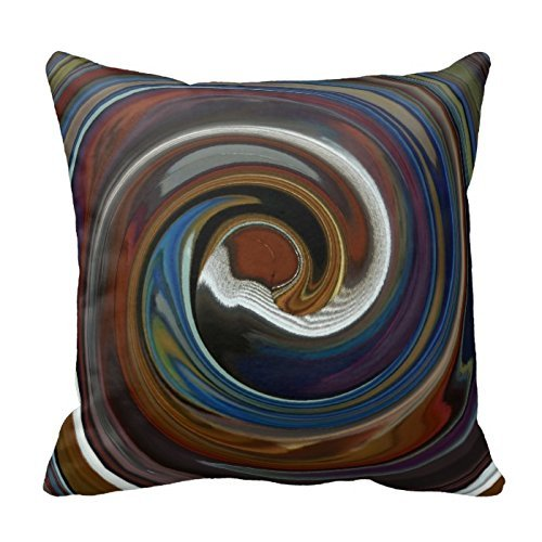 Brown Patchwork Swirl Throw Pillow Cover For Living Room, Sofa, Etc