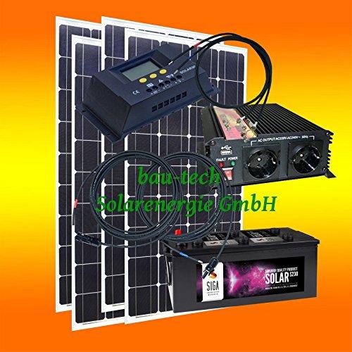 400 Watt Insel Solaranlage für Garten uvm. Komplett SET inklusive Montagematerial für Flachdach von bau-tech Solarenergie GmbH