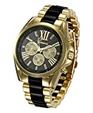 #8: Shocknshop Geneva Men's collection Stainless steel strap Black color dial Mens watch