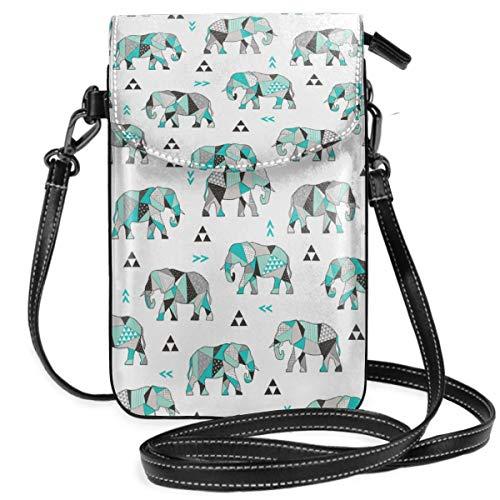 Suminla-Home Bolso bandolera para teléfono móvil, diseño de elefantes, triángulos geométricos, color...