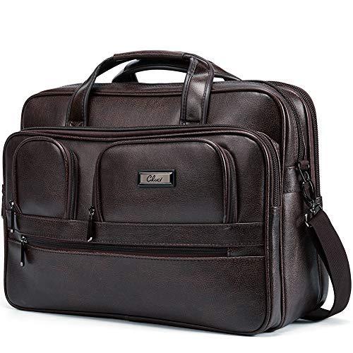 """Aktenkoffer Herren Businesstasche Leder Vintage Groß Laptoptasche 15.6"""" Bürotasche Aktentasche Arbeitstasche Schulterbeutel Messenger Bag"""